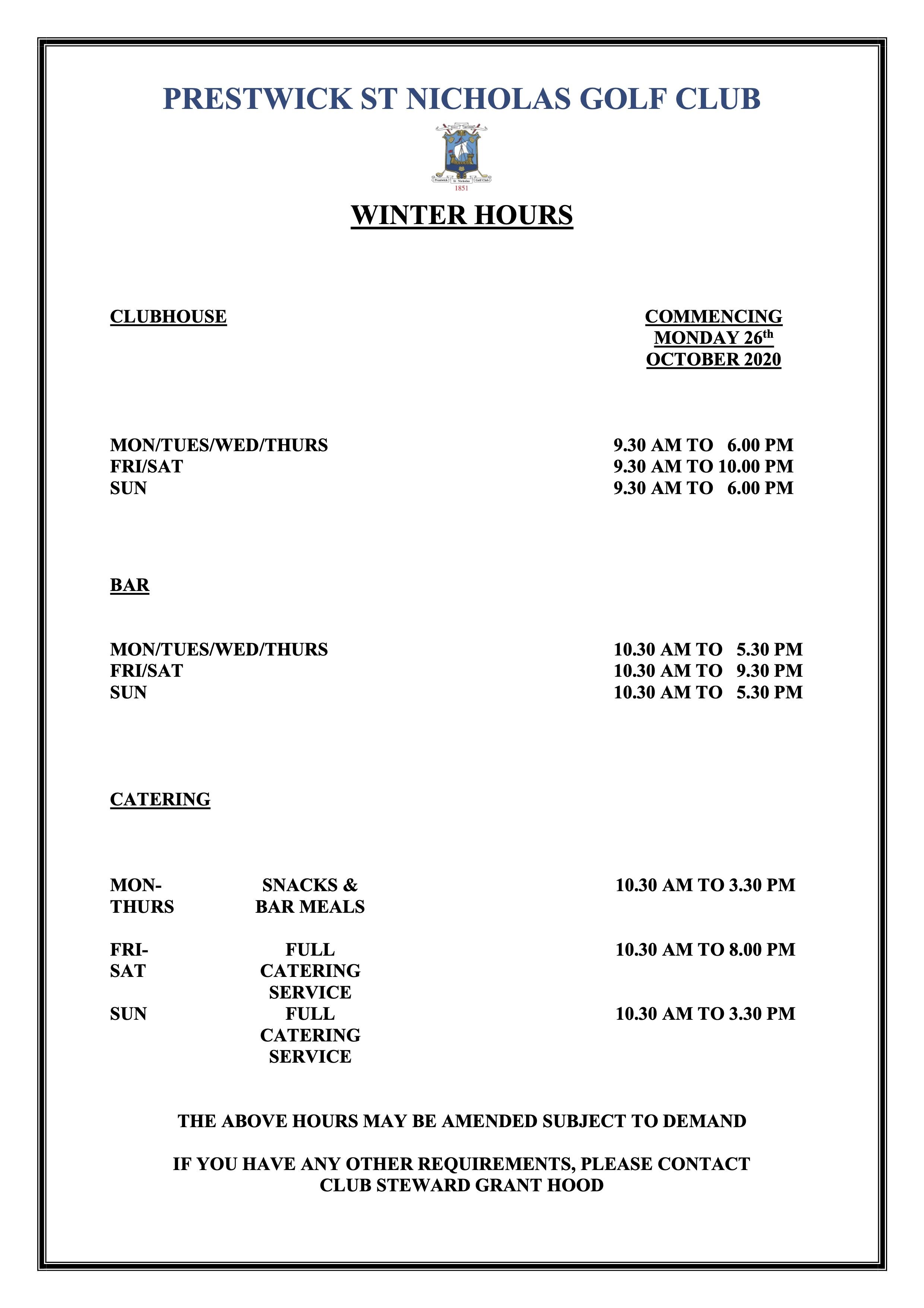Winter Hours 2020